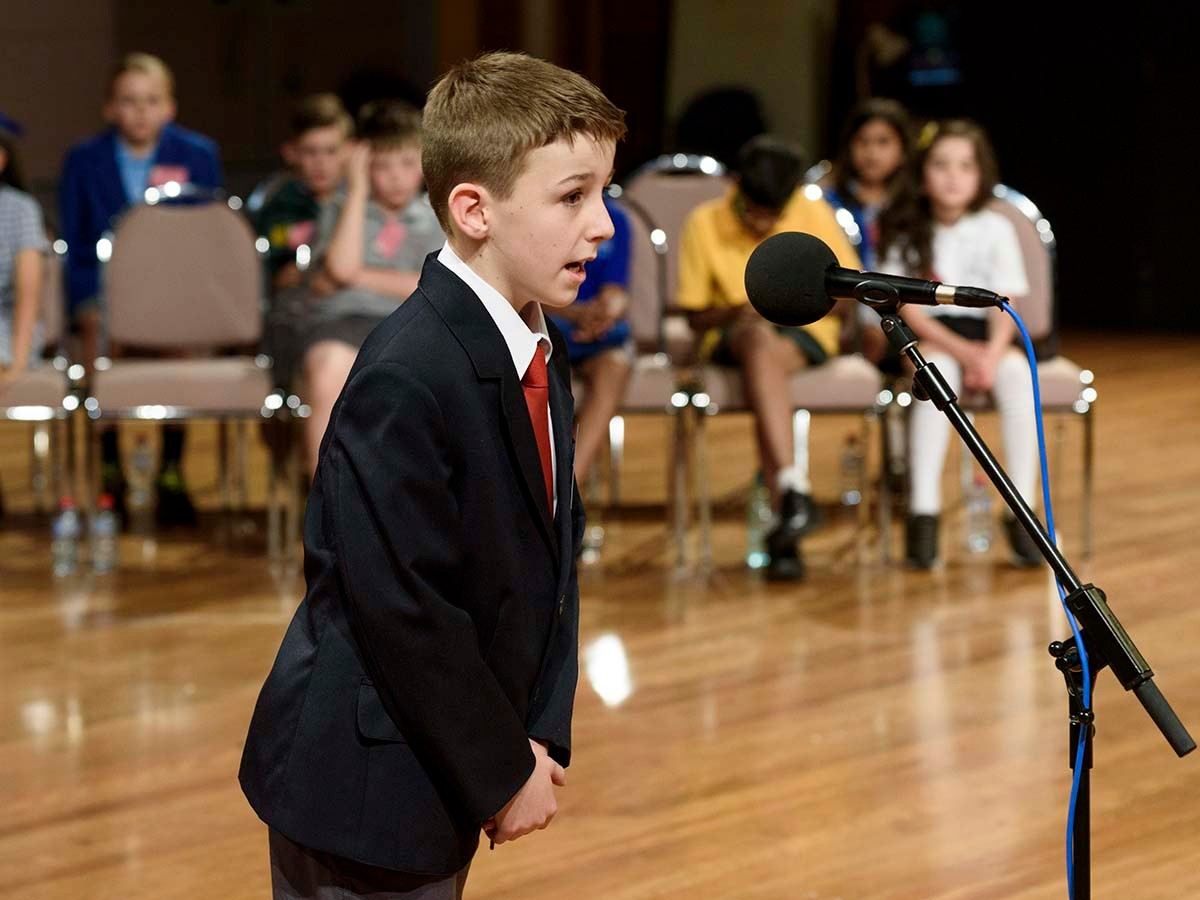 Lucas Guiney from Forster Public School at last year's Premier's Spelling Bee state final.